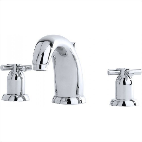 Perrin & Rowe Taps - Contemporary 3 Hole Basin Set - Crosshead
