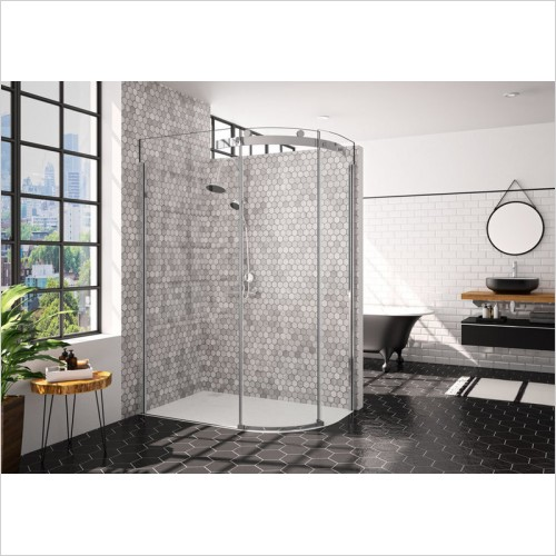 Merlyn Shower Enclosures - 10 Series 1 Door Offset Quad 1000 x 800mm LH Incl. Tray