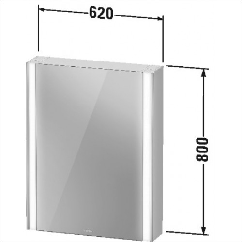 Duravit Furniture - Xviu Mirror Cabinet With Lighting 800x620x156mm