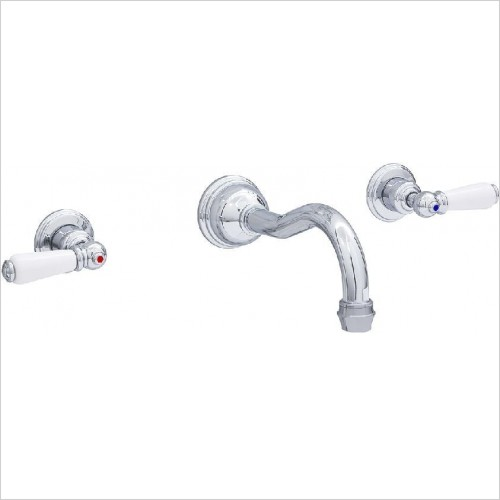 Perrin & Rowe Taps - Traditional 3 Hole Wall Basin Set - Lever