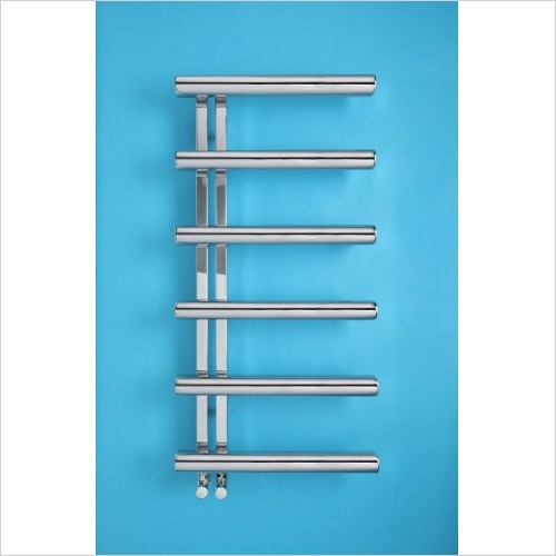Bisque Radiators - Electric Chime LH Towel 1070 x 500mm - SS Mirror