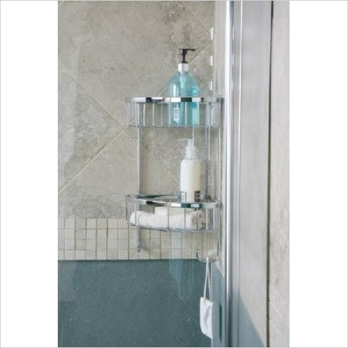 Roman Shower Accessories - Double Corner Shower Basket With Hooks