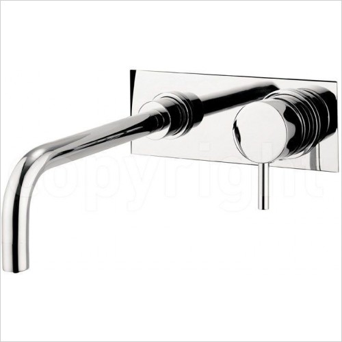 Crosswater Taps - Kai Lever Basin 2 Hole Set, On Plate Wall Mounted
