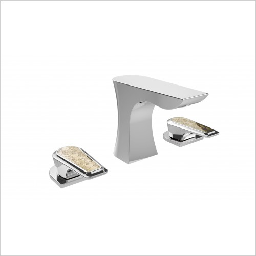 Heritage Taps - Lymington 3 Taphole Basin Mixer With Gold Inlay