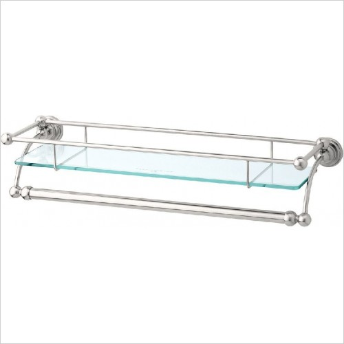 Perrin and Rowe Accessories - Traditional 20'' Glass Shelf With Towel Rail