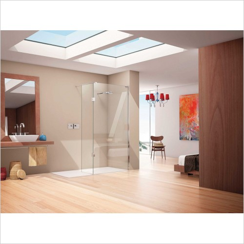 Matki Shower Enclosures - Wet Room Panel With Hinged Panel & Tray 1500 x 800mm