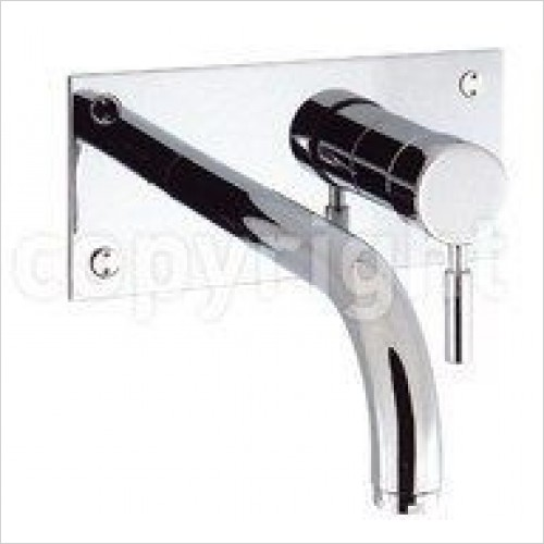 Crosswater Taps - Design Basin 2 Hole Set With 21cm Spout, Wall Mounted
