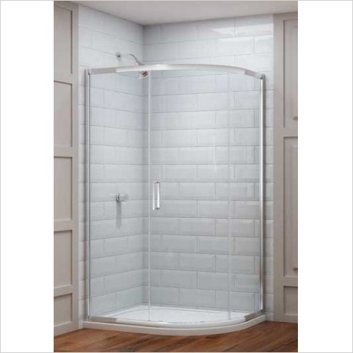 Merlyn Shower Enclosures - 8 Series 1 Door Offset Quad 900 x 760mm Incl. Tray LH