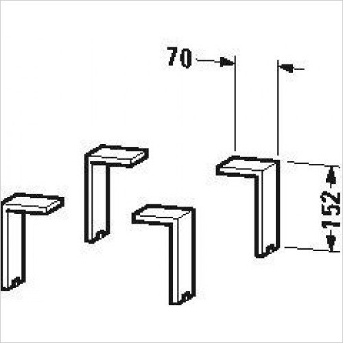 Duravit Optional Extras - Plinth Leg 4 Pieces 130x70x65mm