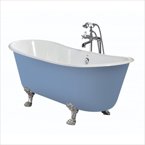 Heritage Bathtubs - Porto Santo Bateau Roll Top Cast Iron Bath, No Tap Hole