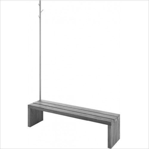 Duravit Optional Extras - Blue Moon Bench/Support Rail With Clothes Rail 1400x1400mm