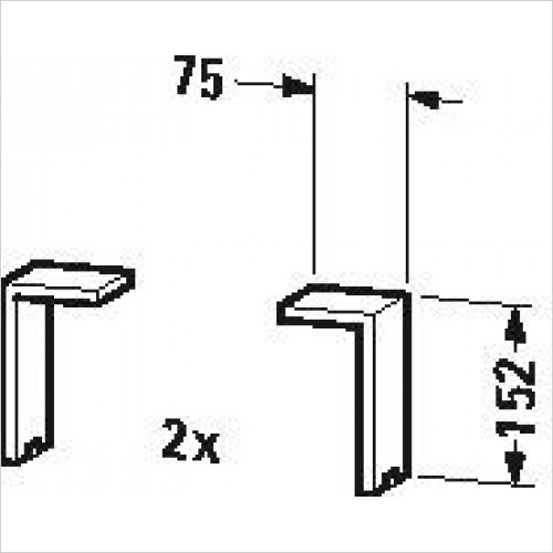 Duravit Optional Extras - Plinth Leg 2 Pieces 130x70x65mm