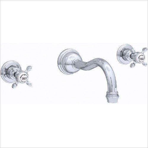 Perrin & Rowe Taps - Traditional 3 Hole Wall Basin Set - Crosshead