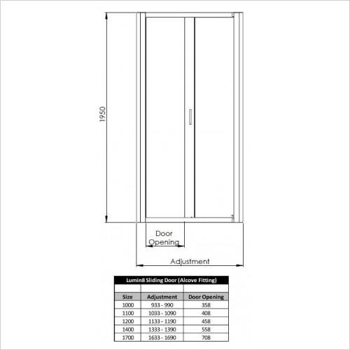 Lumin8 Sliding Door 1200mm