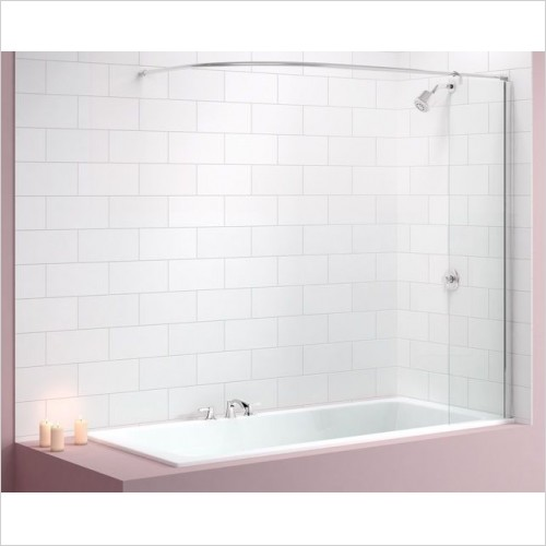 Merlyn Shower Enclosures - Curtain Rail Bath Screen 300 x 1550mm Including Rail