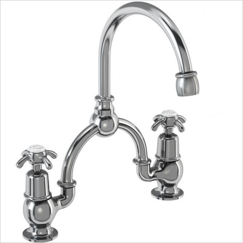 Burlington Taps - Anglesey Bridge Basin Mixer With Curved Spout With Overflow