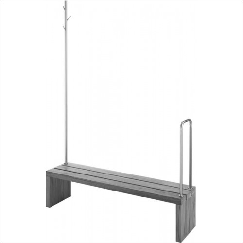 Duravit Optional Extras - Bench/Support Rail With Clothes Rail & Handhold 1400x1400mm