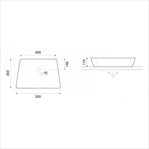 Anabel Counter Basin With Overflow 500mm