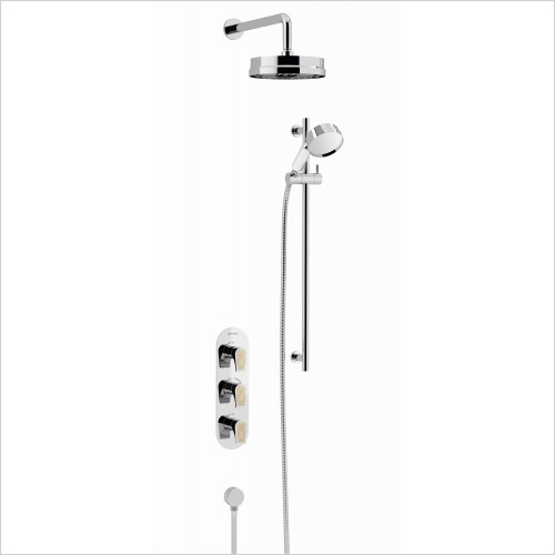 Heritage Showers - Lymington Recessed Shower With Lace Gold Handles