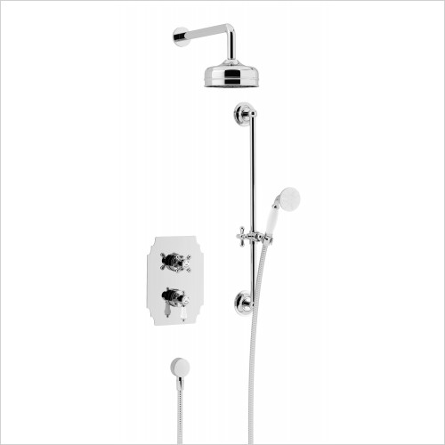 Heritage Showers - Glastonbury Recessed Shower Fixed Head Kit in Chrome