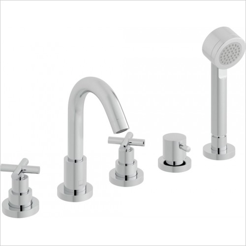 VADO Showers - Elements Water 5 Hole Bath Shower Mixer Deck Mounted
