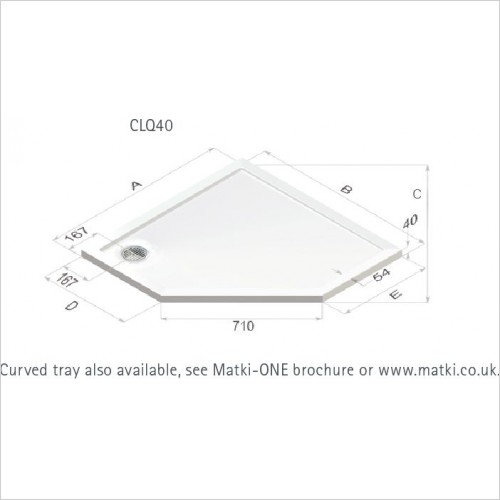 Matki Shower Enclosures - Continental 40 Pent Shower Tray 900mm