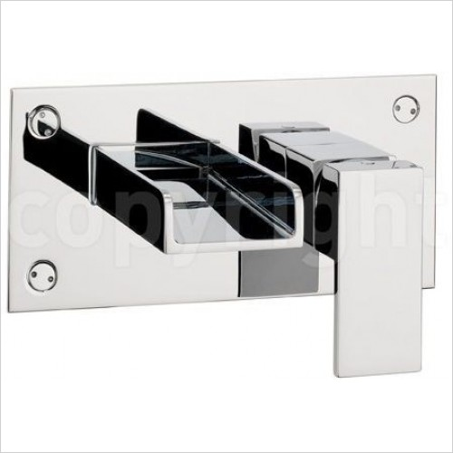 Crosswater Taps - Water Square Basin 2 Hole Set, Wall Mounted