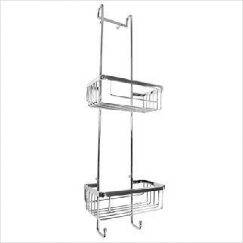 Roman Shower Accessories - Double Hanging Shower Basket With Hooks