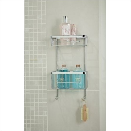 Roman Shower Accessories - Double Rectangular Single Wall Basket With Hooks