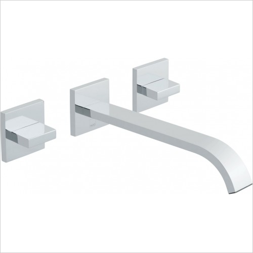 VADO Taps - Geo 3 Hole Basin Mixer With 220mm Spout Wall Mounted