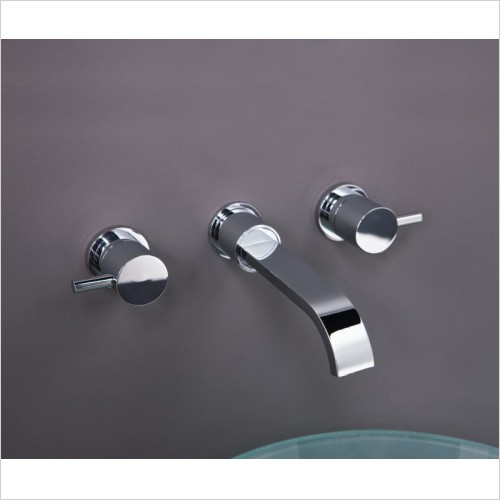 Matki Taps - Elixir Three Hole Basin & Bath Filler, Wall Mounted