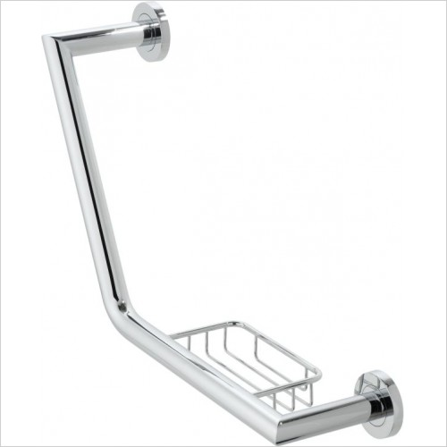 VADO Accessories - Spa Angled Grab Rail With Basket 456mm (18'')