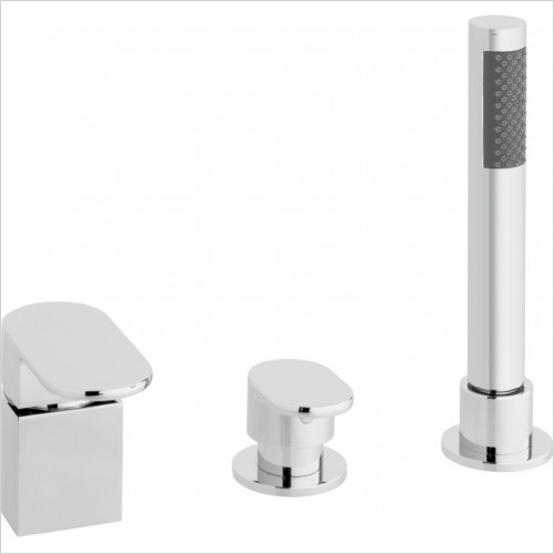 VADO Showers - Life 3 Hole Bath Shower Mixer Single Lever Deck Mounted