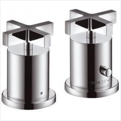 Axor Taps - Citterio 2-Hole Rim-Mounted Thermostatic Bath Mixer - Cross